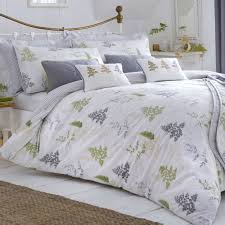 dreams ds linden fern green and grey leaf tree and fern front vertically striped reverse duvet cover bedding set