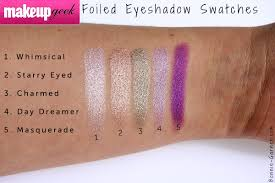 makeup geek foiled eyeshadows whimsical starry e charmed day dreamer masquerade swatches
