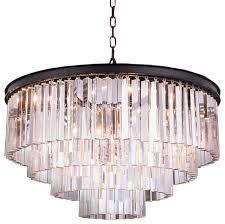 5 tier apex odeon crystal fringe chandelier matte iron black frame
