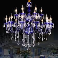 imperial household luxury large blue crystal chandelier light fixture vintage light for hotel villa lounge decoratiion wedding pendant lamp bedroom