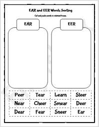 Printable phonics worksheets for kids. Ear And Eer Phonics Words Sorting Worksheet Englishbix