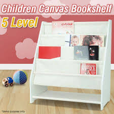5 level tier childrens canvas book shelf display unit white