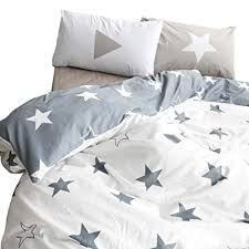 white twin duvet cover. Interesting Duvet BuLuTu Kids Bedroom FivePointed Stars Reversible Cotton Duvet Cover  Sets Twin Grey To White A
