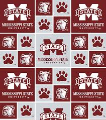Mississippi State University Embroidery Designs Mississippi State University Bulldogs Cotton Fabric Block
