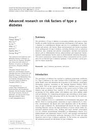 advanced research on risk factors of type diabetes pdf  advanced research on risk factors of type 2 diabetes pdf available