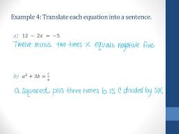 6 example 4 translate each equation into a sentence