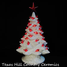 Ceramic Christmas Tree With Bird Lights White Ceramic Christmas Tree With Red Bird Lights 16 Inch Tall Tabletop Electric Tree Made To Order