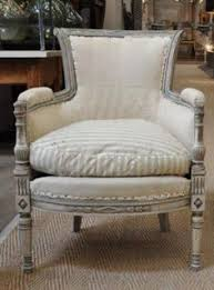 pair of painted directoire style armchairs these are curly being re upholstered in a cream home decor furniturecool