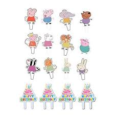 48pcs Peppa Pig Cupcake Toppers Party Decorative Cupcake Topper For Kids Birthday Party Baby Shower