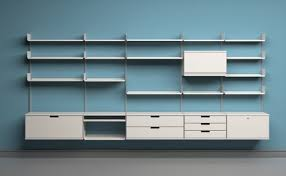 at the core of the shelving system is the e track that can be attached directly to the wall shelves cabinets and tables are hung from the e track by