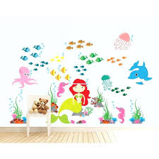 under the sea wall decals mermaid under the sea and ocean nursery vinyl reusable wall decal