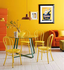 outstanding modern yellow dining room design with round
