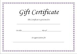 Certificates Printable Blank Gift Certificates Templates Birthday Certificate