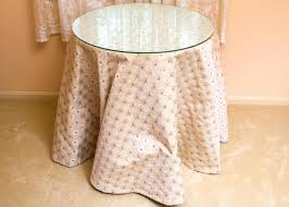 round decorator table with glass top and fabric skirt decorative plastic tablecloths