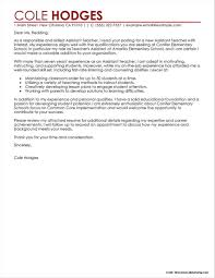 Sample Cover Letter For Assistant Teacher Cover Letter Resume
