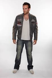 mens leather biker jacket w patches in taupe