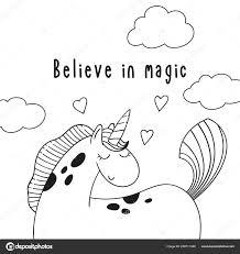 Schattige Cartoon Pony Eenhoorn Inscriptie Geloven Magie Zwart Wit