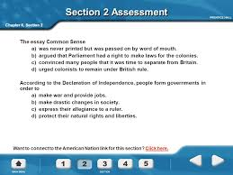 colonies declare independence the american revolution ppt video section 2 assessment the essay common sense