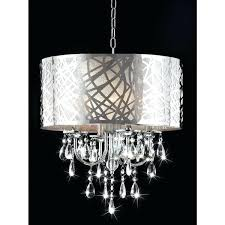 chrome drum chandelier 4 light crystal color combo lighting