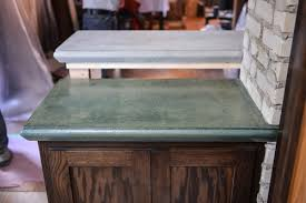 two completed concrete countertops that were created with edge forms made by z counterform