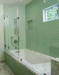 green ceramic tile design in shower