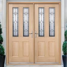 double front door. Salisbury External Oak Double Door And Frame Set With Semi Obscure Zinc Glazing Front U