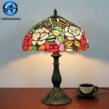 tiffany style lamp base flower antique bronze style lamp metal base glass mosaic lamp shade