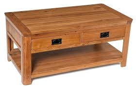 rustic oak coffee table with drawers drawer 2