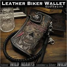 custom hand pirate skull carved leather wallet biker wallet silver concho wild hearts leather silver id lw0705
