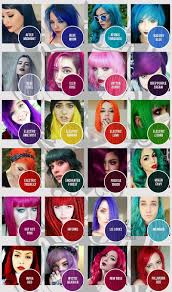 Manic Panic Hair Color Chart Manic Panic Colour Chart Classic Dyes In 2019 Manic Panic