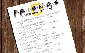 Printable Friends Bridal Shower Game Wedding Trivia