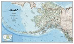 alaska wall map laminated (reference  us) national geographic