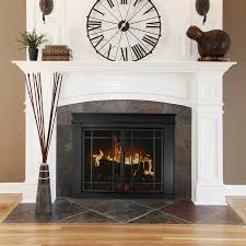 pleasant hearth midnight black um cabinet style fireplace doors with smoke tempered glass fl 5801