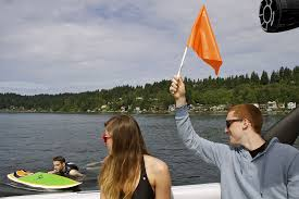 always put the flag up when someone is in the water