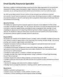 Quality Assurance Specialist Job Description Quality Assurance
