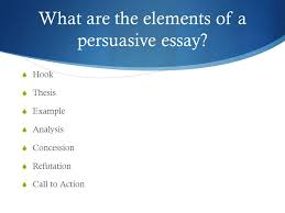 line persuasive essay ppt video online  4 what are the elements of a persuasive essay hook thesis example analysis concession refutation call to action