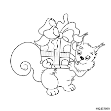 Coloring Page Outline Of Red Squirrel With A Big Gift Stock Image