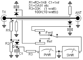 simple swr and pwr meter wiring diagram the sample voltage is then rectified and displayed on a meter that is calibrated in watts if the counter is typically a coil the scale so the numbers on