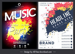 Free Music Poster Templates Music Poster Templates Colorful Grunge Ink Decor Free Vector