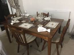 solid wood country design dining table chairs set