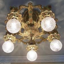 722 vintage 20s 30s ceiling light lamp fixture art nouveau polychrome chandelier 1787120632