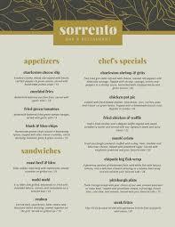Gold Beige Leaves Fancy Elegant Restaurant Menu - Templates By Canva