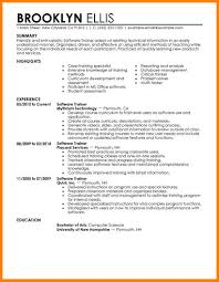 Technical Trainer Resume Resume Examples For It Jobs Best Software Training Resume Example