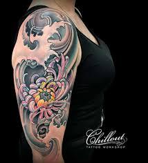 Built With Gmediagallery японская хризантема татуировка на плече