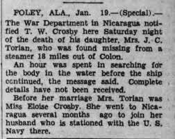 TORIAN, Eloise Crosby death at sea 1931 - Newspapers.com