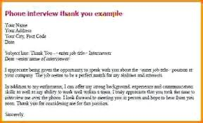 Thank You Note For A Phone Interview Thank You Note Phone Interview Email For Letter After Ukcheer