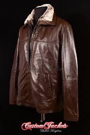 men s brute brown lambskin dual fur collar real soft leather casual winter reefer jacket coat