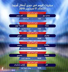 جدول مباريات دوري أبطال أوروبا مساء اليوم الثلاثاء