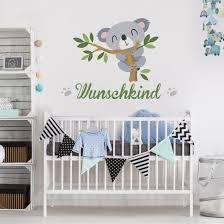 Wandtattoo Namen Kinderzimmer Koalabär Zweig Wunschtext