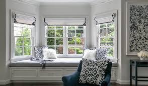 bay window master bedroom. Fine Bay Master Bedroom Bay Window Bench With Navy Greek Key Roman Shades For I